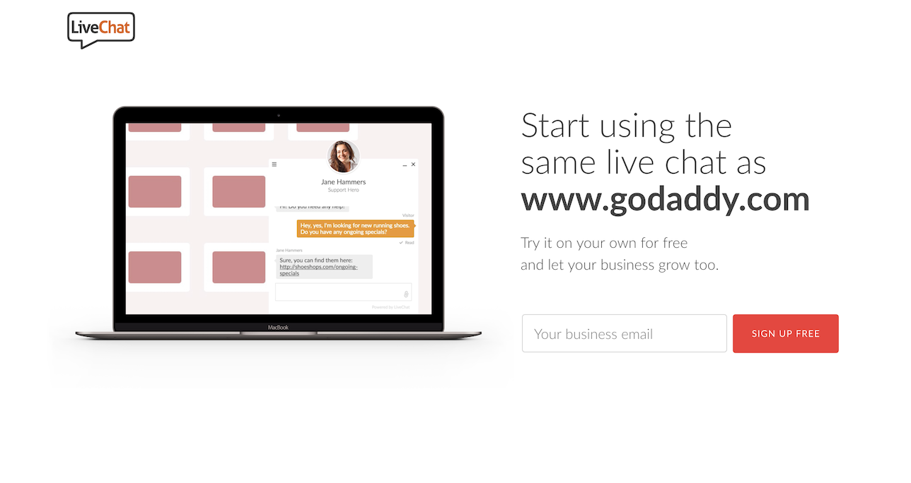 Powered by LiveChat landing page