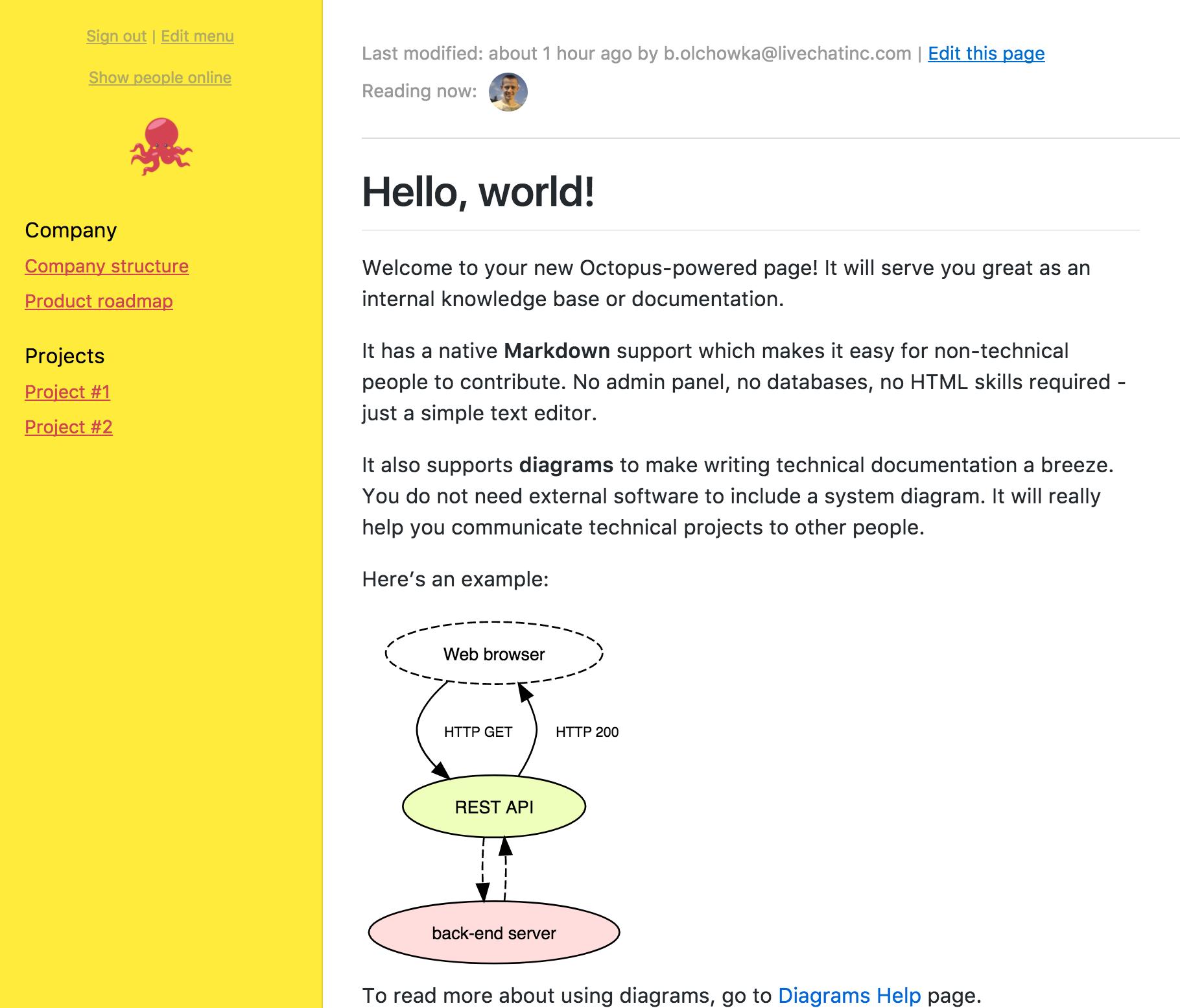 LiveChat for Developers Blog - Meet Octopus - Internal Wiki