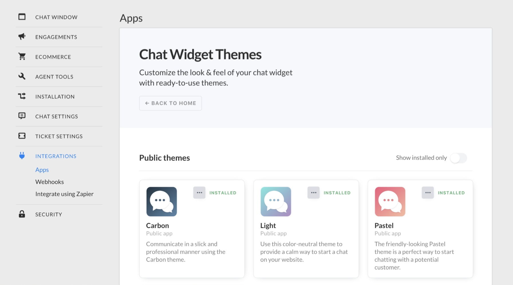 Chat themes Marketplace