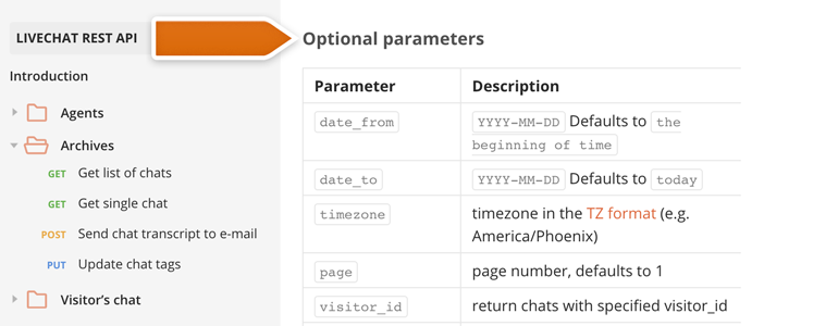 Filter your calls with additional parameters