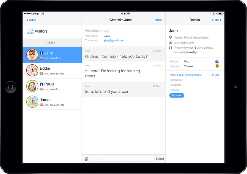 Chat with customers with LiveChat application for iPad