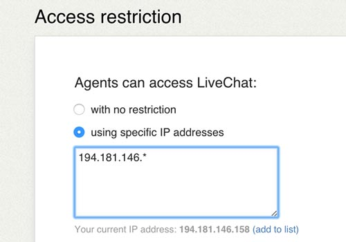 Feature list: Security - Access restriction
