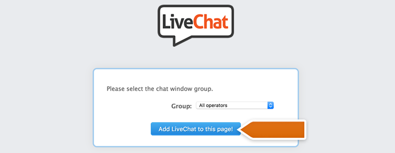 Choose the group responsible for chats from Facebook and click on Add LiveChat to this page!