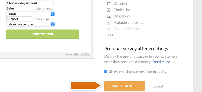 Saving group-selection in the pre-chat survey