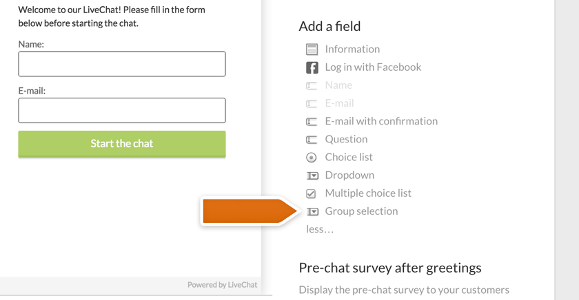 Adding group-selection to pre-chat survey