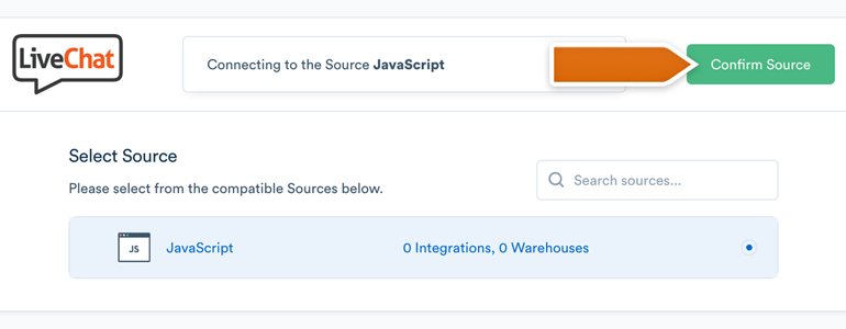 Choose and confirm JavaScript as a Source
