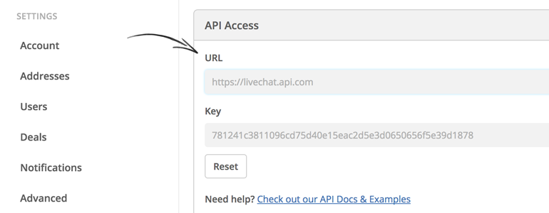 Copy your URL and API Key