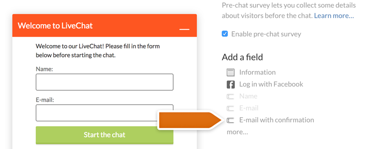 Add email with confirmation field to your pre-chat survey