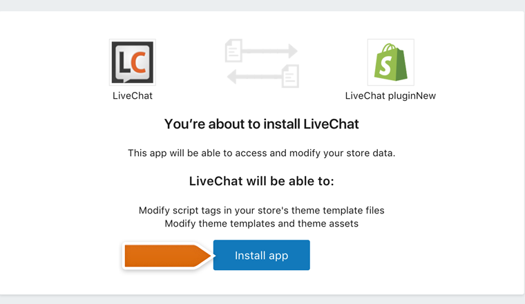 Proceeding with the LiveChat installation in Shopify