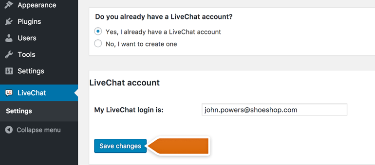 Link your account with LiveChat for WordPress plugin