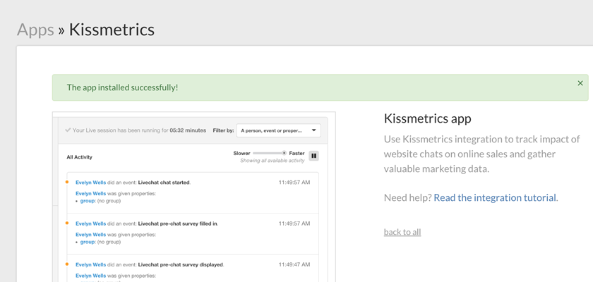 Successful installation of the Kissmetrics integration with LiveChat