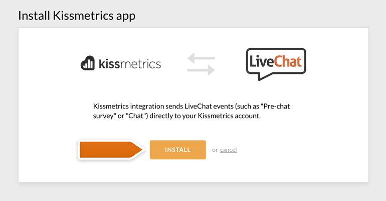 Installing the Kissmetrics integration with LiveChat