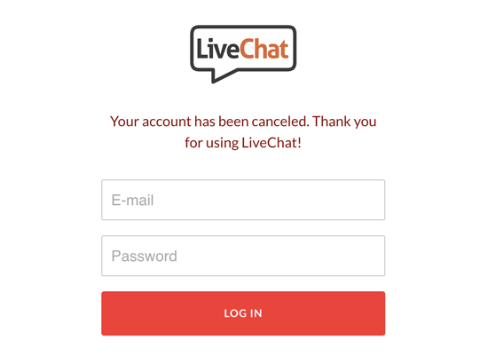 Your LiveChat has been canceled