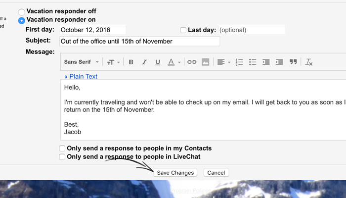 Setting up an out of office email message