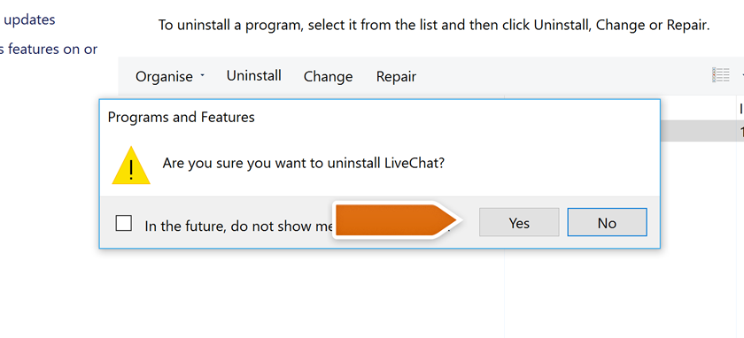 Confirming LiveChat uninstall process