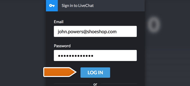Log in to LiveChat Dashboard