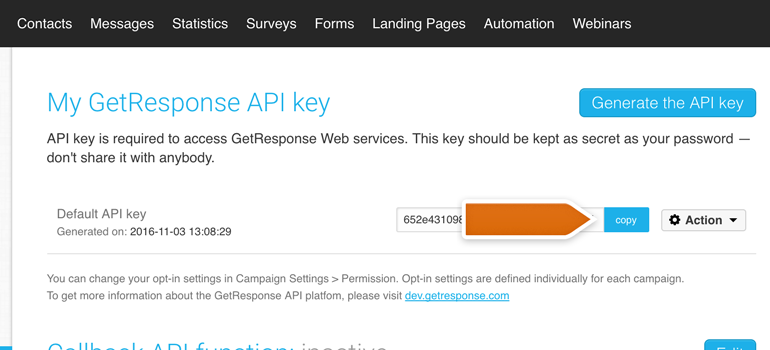 Acquiring GetResponse API key