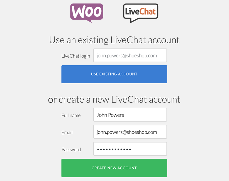 Link your account with LiveChat for WooCommerce plugin