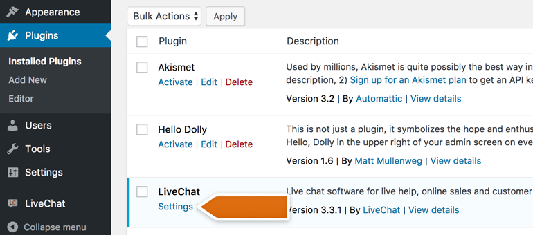 Enter Settings of LiveChat Plugin