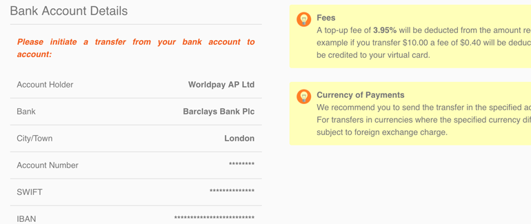 Transfer funds from your bank account to Entropay