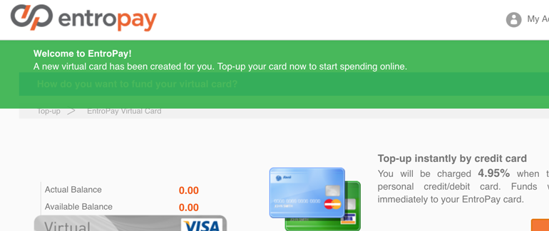 Done! Your Entropay account is now ready to use
