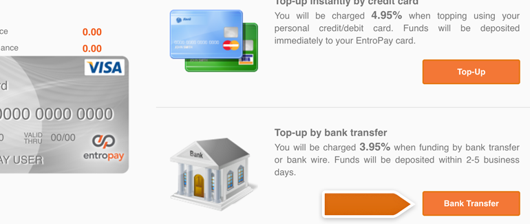 Top up your virtual card via bank transfer