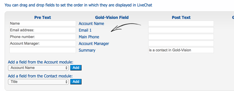 Set-up fields that you want to display in LiveChat
