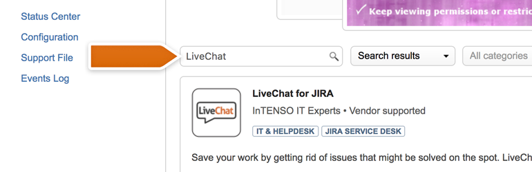Type LiveChat into the Search Field and hit Enter