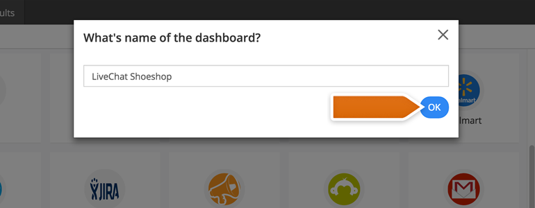 Name your Dashboard and click on OK to proceed