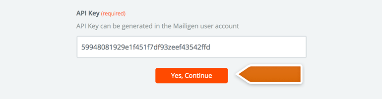 Provide your Mailigen API key