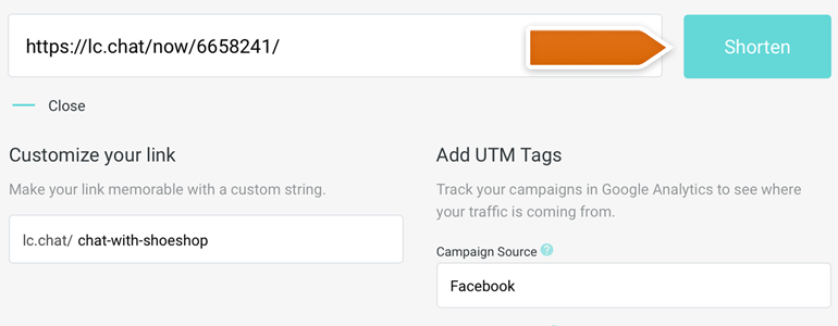 Click on Shorten button to prepare your link with custom UTMs!