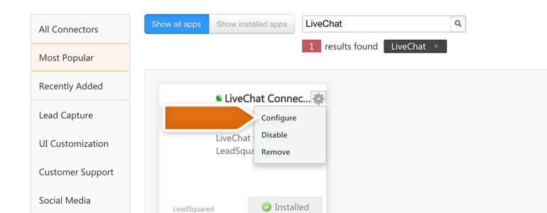 Configure your new LiveChat Connector