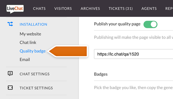 New category at LiveChat - Quality Badge!