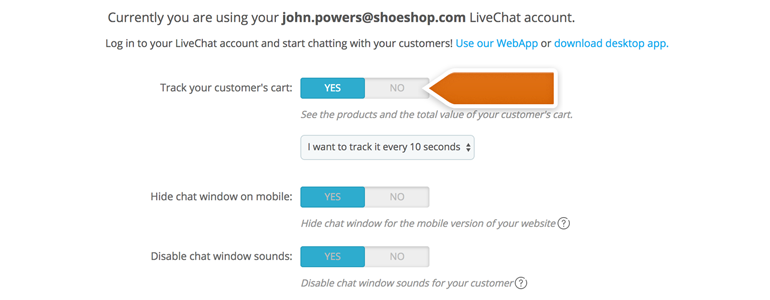 Configure additional functions of LiveChat plugin