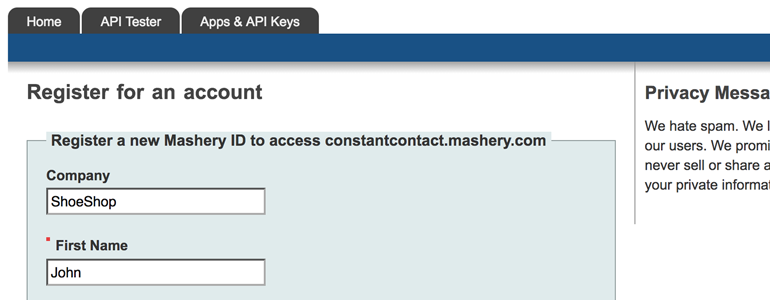 Sign up for Mashery account