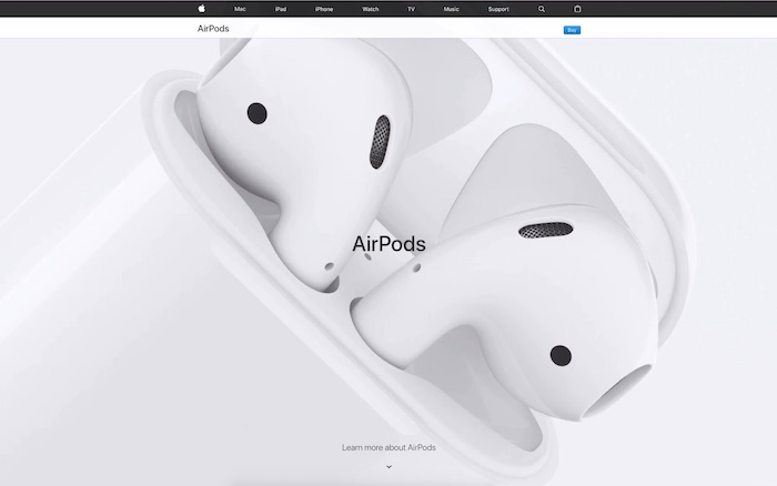 airpods web page screen