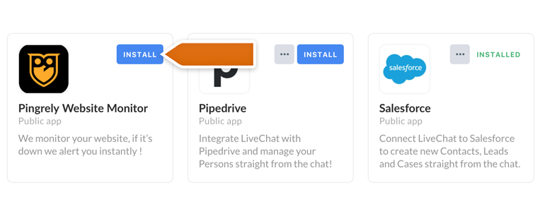 Pingrely LiveChat: Find your Pingrely app and click on Install to proceed
