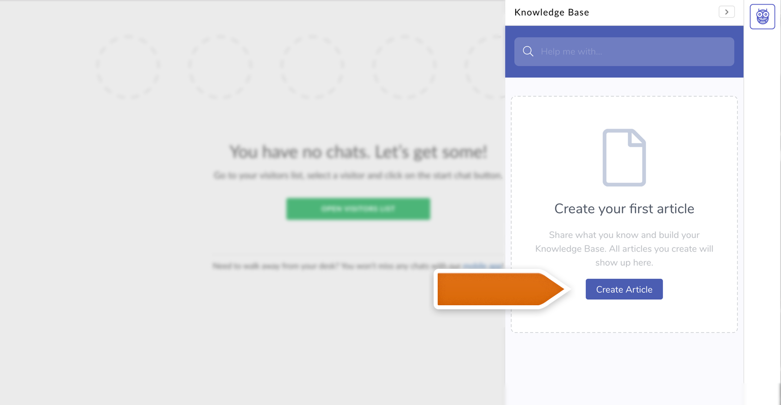 create knowledge base article from the LiveChat widget