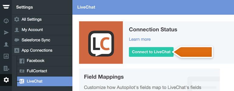 Click on Connect to LiveChat to link Autopilot with your LiveChat account