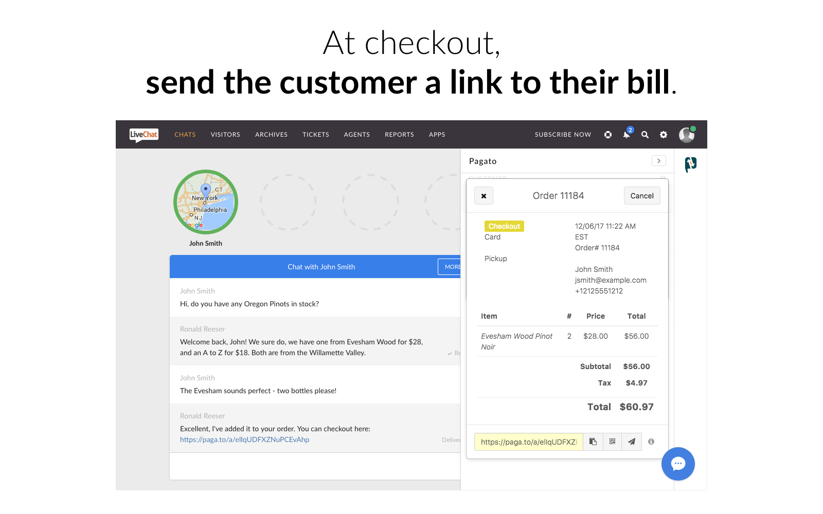 livechat-pagato-send-bills-to-customers