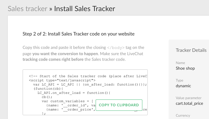Getting the tracker code for the LiveChat Sales Tracker