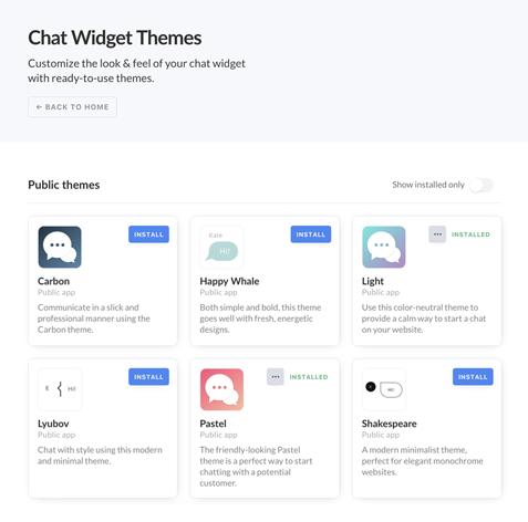 Chat Widget Themes for LiveChat Marketplace!