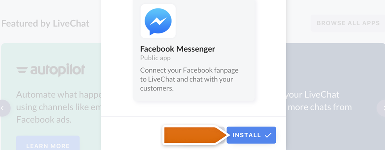Messenger LiveChat: Click on Browse all apps